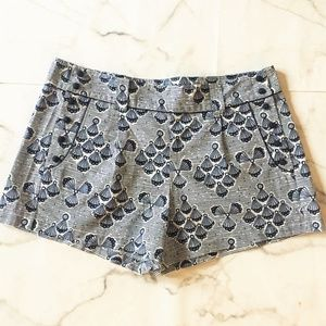 French Connection Navy Shell Print Button Shorts